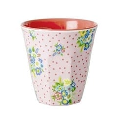 Rice Melamine Cup Flowers Pink