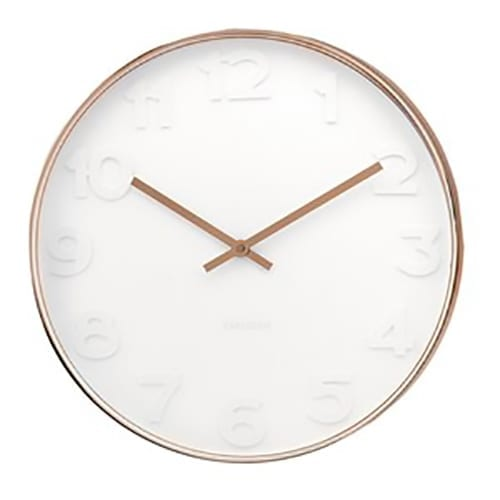Karlsson Mr White Numbers Clock | Copper | Large