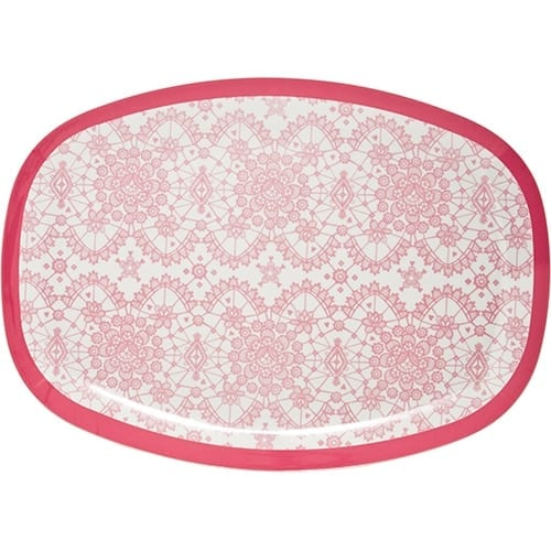 Rice Rectangle Melamine Plate | Lace Coral
