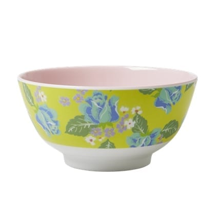 Rice Melamine Bowl Vintage Yellow Rose