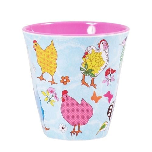 Rice Melamine Cup | Blue Hen Print