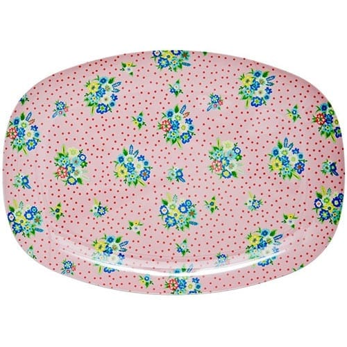 Rectangle Melamine Plate | Vintage Posy Pink | Rice