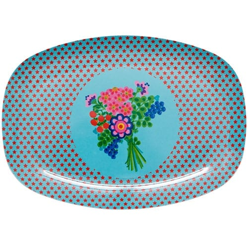 Melamine Plate - Rectangle | Stars Blue
